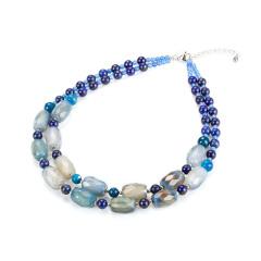 双链分层设计蓝玛瑙青金石项链 货号111401