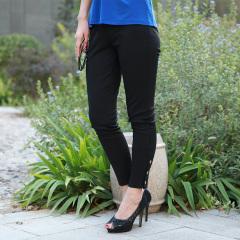 N.L素色针织罗马布瘦腿裤