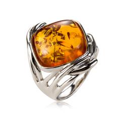 奢华银镶琥珀戒指 货号113001