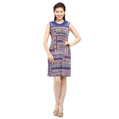 N.L针织印花镂空领连衣裙 货号114757