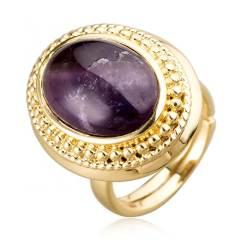 AN.宝石款椭圆紫晶戒指 货号116345