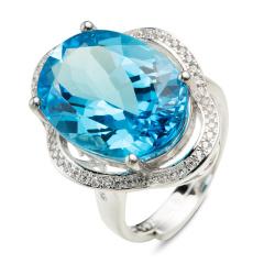 翠璨蓝色传说15克拉托帕石戒指 货号120136