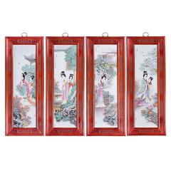 张松茂西厢记手绘瓷版画四条屏 货号121780