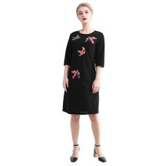 DS黑色飞鸟款长袖连衣裙  货号122386