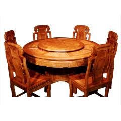 刺猬紫檀如意圆桌八件套 货号122719