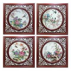 《富贵满堂》四斗方瓷版画