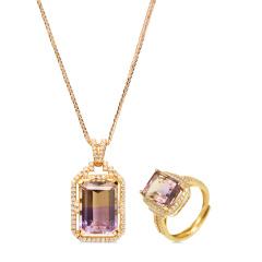 荔彩轩紫黄晶套装