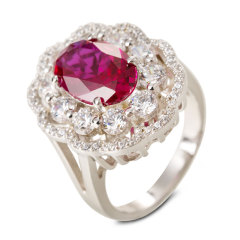 CW倾城之恋合成红宝石戒指小款