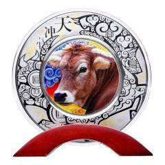 2021年牛气冲天高浮雕彩色银章