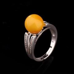 琳福珠宝 海之恋S925银镶嵌蜜蜡宝石戒指