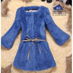 瑷美天使法国进口简约圆领七分袖修身显瘦纯色排汗透气柔软舒适奢华保暖兔毛中长款皮草外套