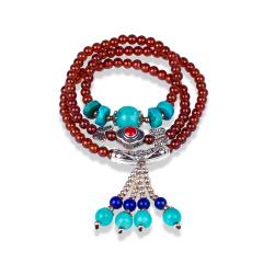 芭法娜 橙雨蓝馨 天然橙色石榴石5mm配彩宝多圈百搭手链 高端宝石
