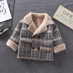 韩版休闲 1~3岁婴幼童毛领双排扣格纹西装 2019秋冬 加厚新款外套