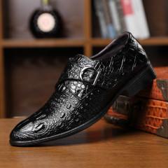 鳄鱼纹男鞋皮带扣商务皮鞋休闲鞋子时尚男潮鞋