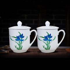 中艺盛嘉陶瓷茶杯带盖釉下五彩醴陵瓷器手绘兰草杯外事礼品