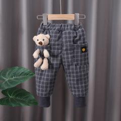 冬季新款儿童棉裤 格子小熊韩版休闲长裤 男女童加绒加厚保暖裤子