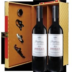 法国波尔多原瓶进口巴图波尔多干红葡萄酒高档礼盒套装