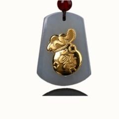 琳福珠宝  和田玉镶嵌足金福袋吊坠