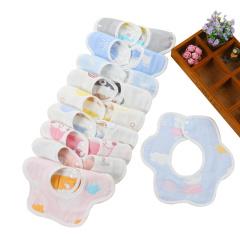 婴儿纯棉六层纱布围嘴 防水360度可旋转口水巾 2条装