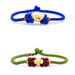 芭法娜 蝴蝶结or羽翼 3D硬金黄金足金编织转运珠手链 可调节长短