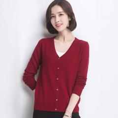 丁摩新款兔绒V领羊毛衫针织衫小开衫0214