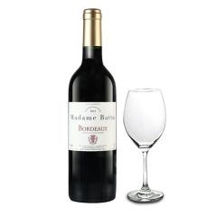 法国酒庄直采巴图太太波尔多干红葡萄酒单支买就送酒杯