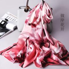 中国风真丝丝巾100%桑蚕丝围巾丝绸防晒空调披肩披风送老婆送妈妈礼物