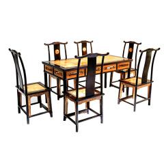 冯文土紫金明月餐桌椅套组