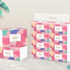 班布舒竹木纤维纸面巾安全轻柔婴幼儿可用抽纸一提8包