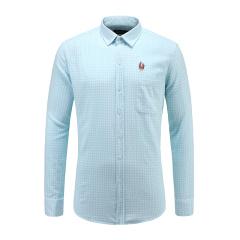 男士休闲浅格纹衬衫商务绣花长袖衬衫23635125