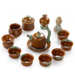 金镶玉 柴烧粗陶手持壶14件套组 茶壶茶杯公道杯茶宠整套