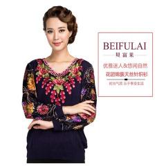 贝富莱花团锦簇针织衫