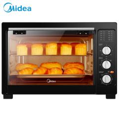 美的 多功能家用烤箱38升大容量四层烤架 广域控温定时控温日常小点心电烤箱经典黑不烤焦易清洁