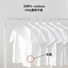 日本重磅厚实纯棉纯色短袖T恤男女同款ins白色半袖圆领打底衫潮