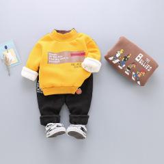 菲儿小屋 0-4岁2020冬季新品男女儿童卡加绒加厚卡通人物圆领套装