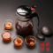 飘逸杯手工吹制玻璃实用茶具套装茶逸茶道杯套装连体分体式茶具套装连体式飘逸过滤套装飘逸杯玻璃茶具套装