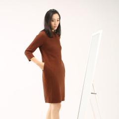 清仓 狐狸绒圆领中长款羊毛连衣裙PMFR02-原598现399元