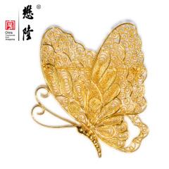 18K金花丝蕾丝蝴蝶镂空吊坠项坠翩翩起舞宫廷首饰正品包邮