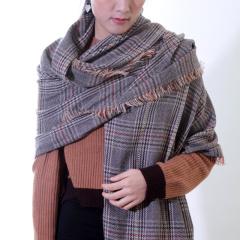 丁摩 SSYAOGE 经典格子羊毛流苏围巾W1703