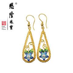 懋隆S925银饰镀金手工花丝烧蓝水滴形复古珍珠花朵耳环女款礼物
