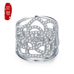 熙益 s925银戒指复古欧美饰品镶钻花纹镂空指环 精品美饰