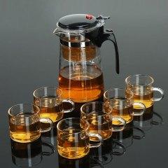 福辰 玻璃茶具套装可拆洗内胆 650ml居家办公耐热玻璃茶杯泡茶壶套装