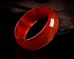 琳福珠宝 吉祥富贵天然红玛瑙手镯 加宽加厚手镯玛瑙镯子玉石手镯