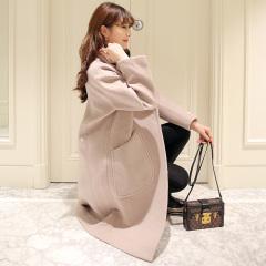 采沂 韩版纯色修身系带中长款羊毛呢大衣