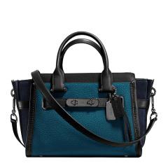 COACH/蔻驰 女士Swagger 27牛皮拼接多色拉链手提包, 蓝+黑色