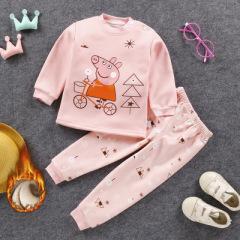 秋冬季新款儿童加绒加厚保暖衣男女童内衣内裤套装韩版家居服