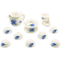 金镶玉 功夫茶具 蓝精灵陶瓷套组 12头茶具整套
