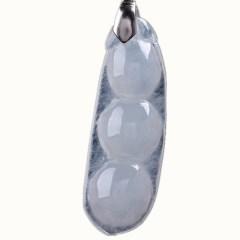 琳福珠宝 四季福安925银天然冰种翡翠福豆吊坠