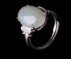 琳福珠宝  S925银镶和田白玉指环 天然和田玉女式戒指 银镶玉戒指女