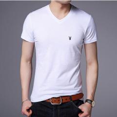 白色短袖t恤男v领夏季桃心领花公子半袖纯色韩版潮领体恤